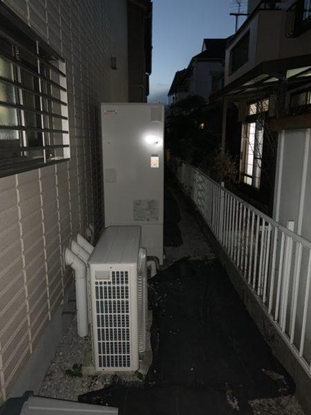 大阪府岸和田市でエコキュート交換工事 ダイキン『EQ37EFV』→日立『BHP-F37RD』