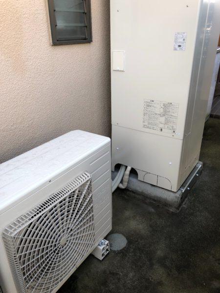 兵庫県明石市で電気温水器からエコキュート交換工事 三菱『SRT-4666F100V』→日立『BHP-F46RU』