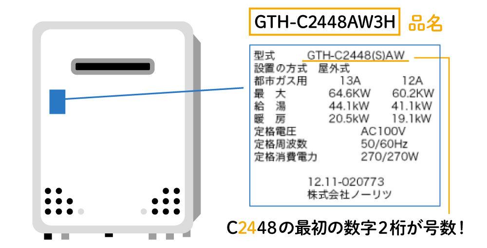ガス給湯器の号数の確認方法